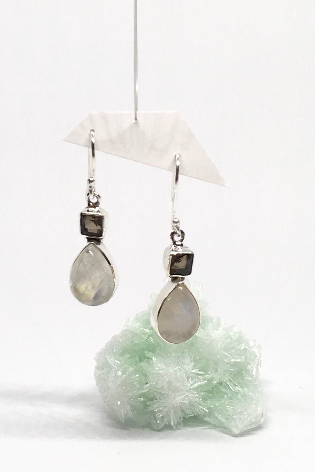 Oracle Earrings Moonstone Dance in 925 Silver with Smokey Quartz