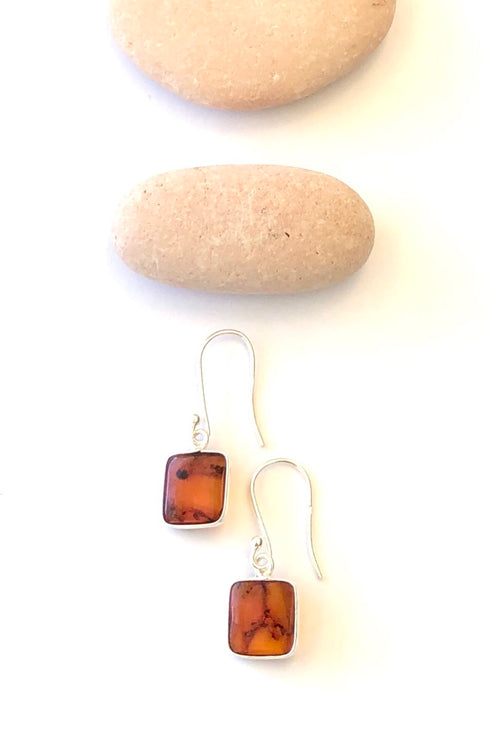 Oracle Earrings Amber Square Drop