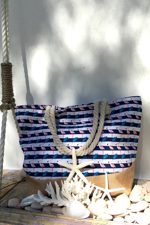Yeah Canvas Beach Bag Flamingo Stripes Navy and White