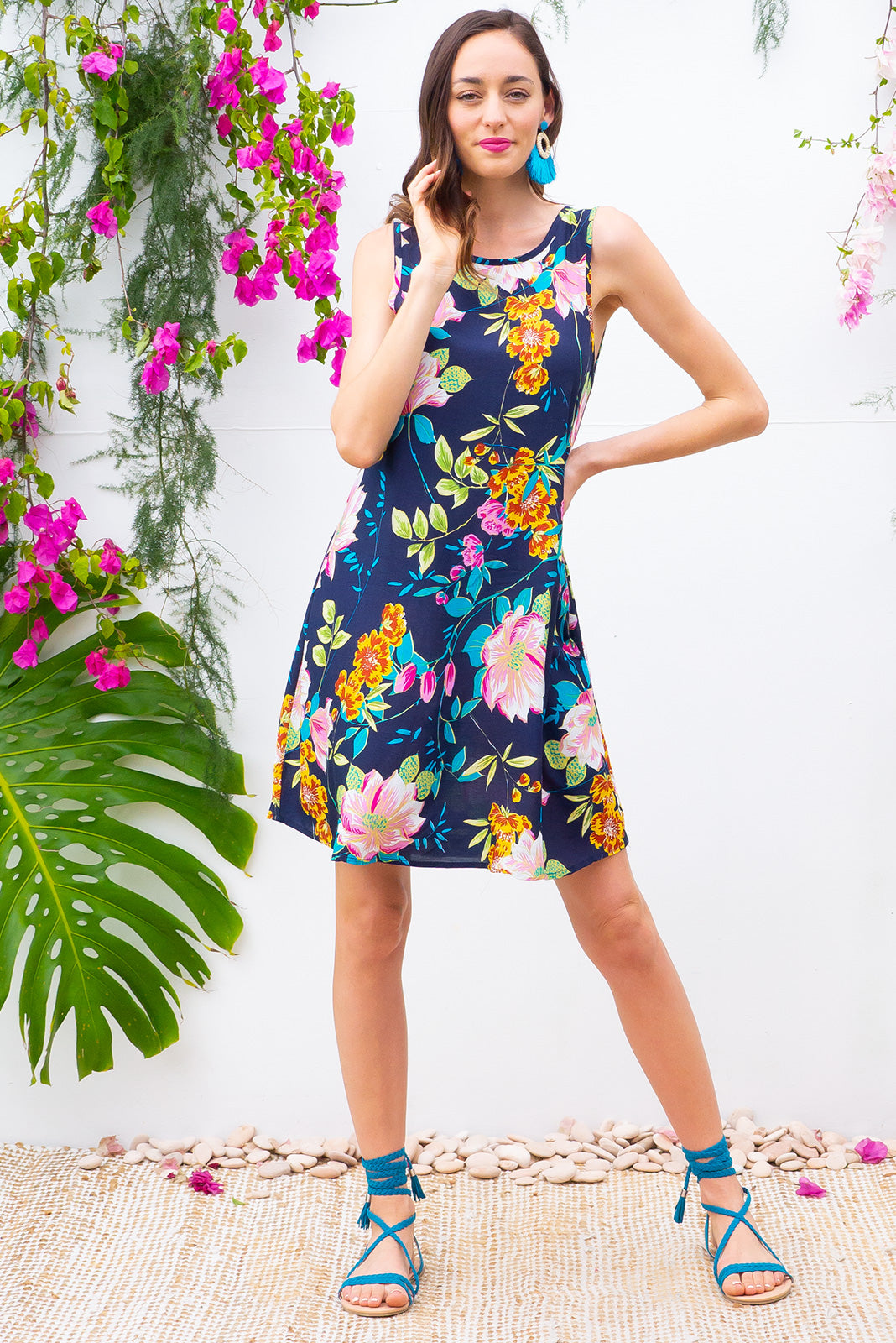 Bahama Slip Dress Water Lilly Navy in a dark bright tropical print on woven 100% rayon in a swing aline shape with side pockets