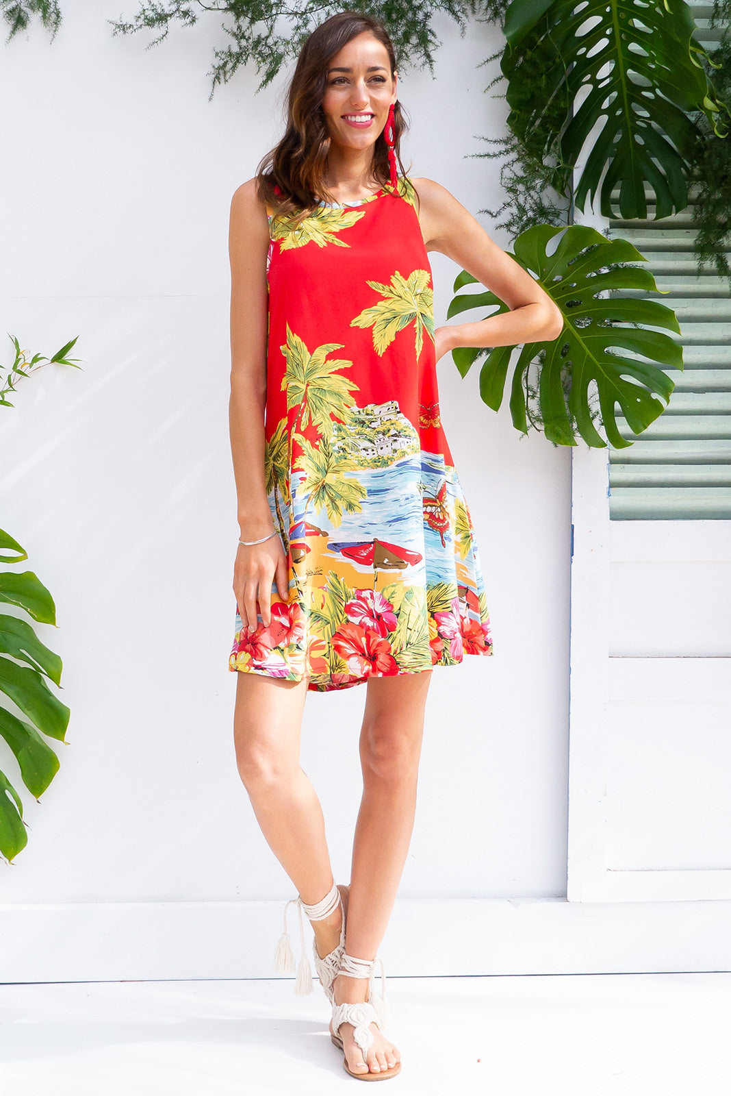 Bahama Slip Dress Island Red  in a stunning bright red tropical beachside print on woven 100% rayon in a swing aline shape with side pockets