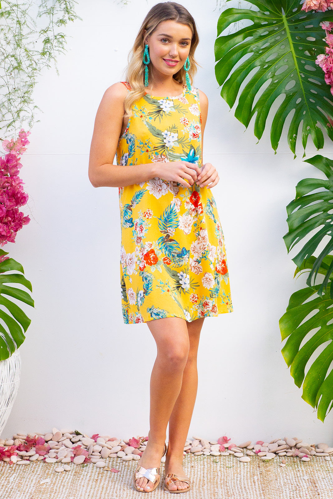 Bahama Slip Dress Sunshine Yellow  in a glorious bright yellow tropical print on woven 100% rayon in a swing aline shape with side pockets