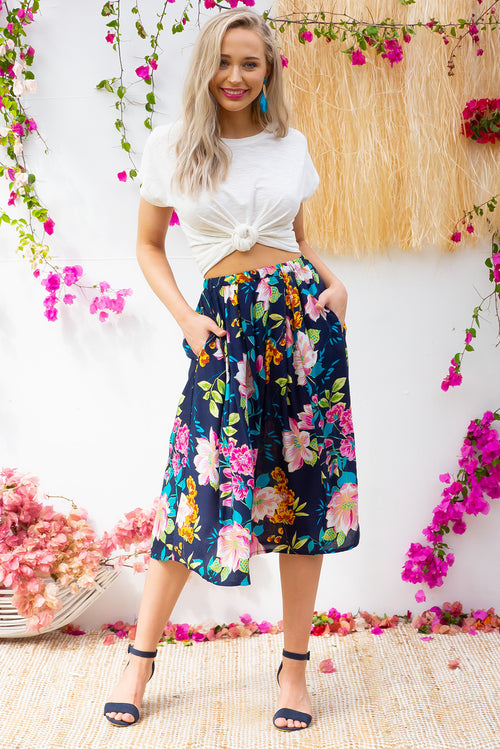 Bahama Skirt Water Lilly Navy