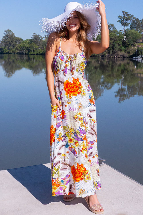 Ballito Bay Bird of Paradise White Maxi Dress