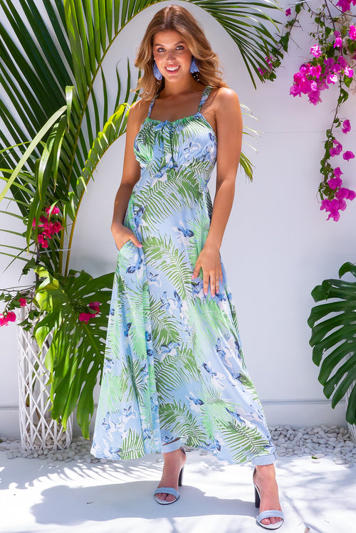 Ballito Bay Jungle Ice Blue Maxi Dress