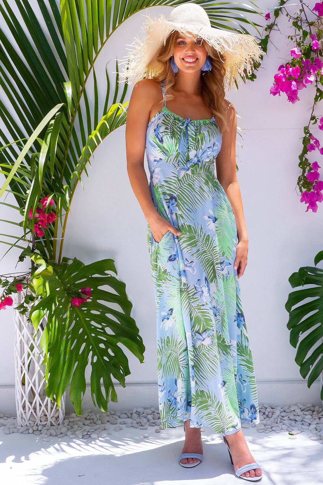 Ballito Bay Jungle Ice Blue Maxi Dress slinky summer design with tropical bohemian inspired print, adjustable straps and side pockets.