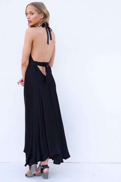 Belle Starr Maxi Dress Noir Satin