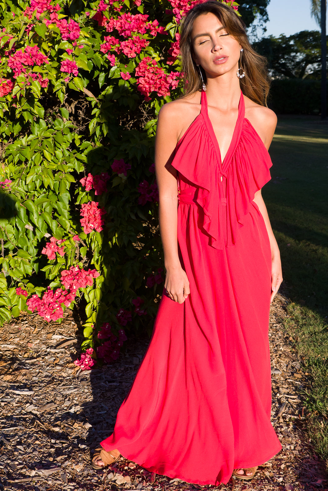 Belle Starr Maxi Dress Backless Halter formal dress in true red