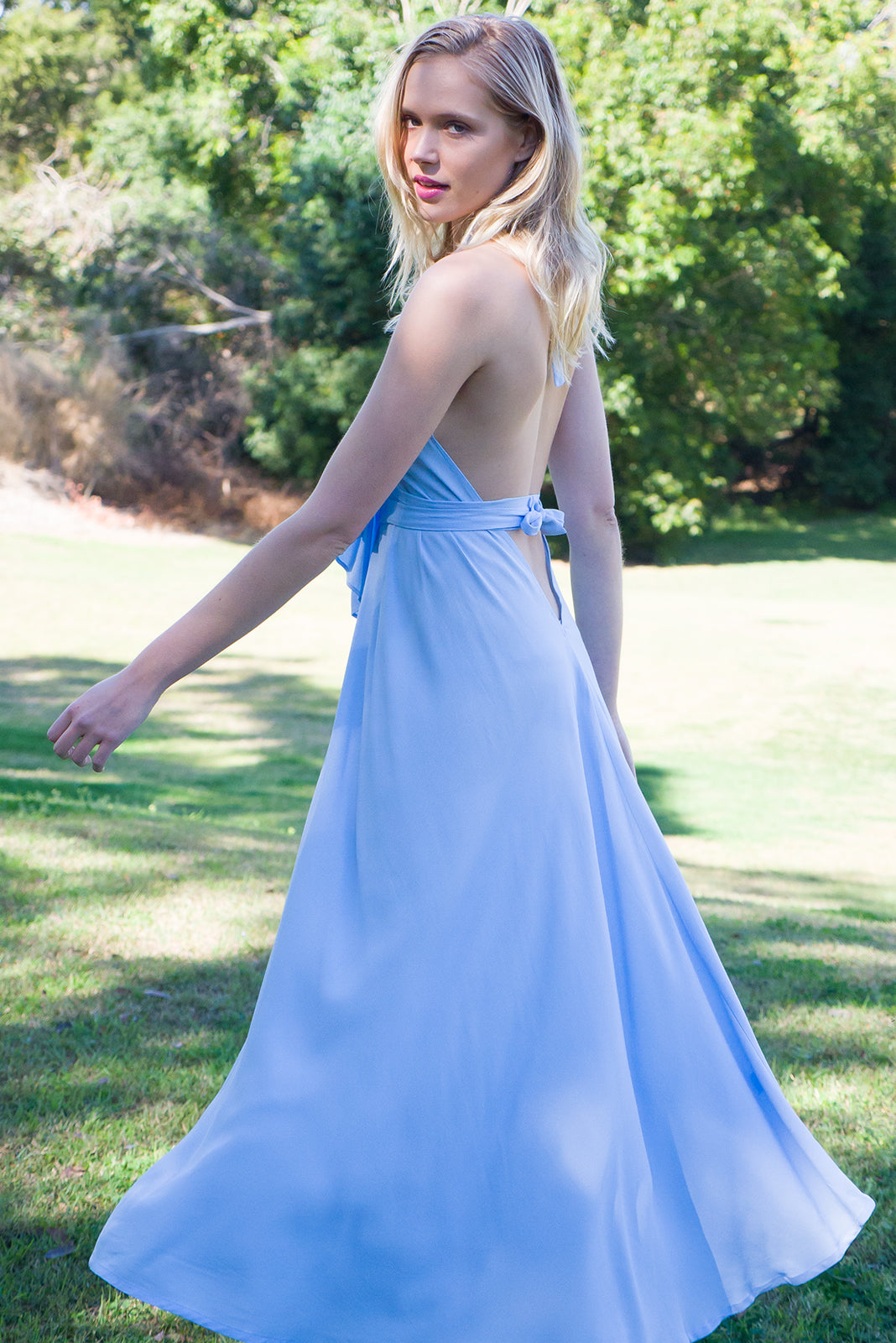 Belle Starr Maxi Dress Backless Halter formal dress in cool ice blue moss crepe