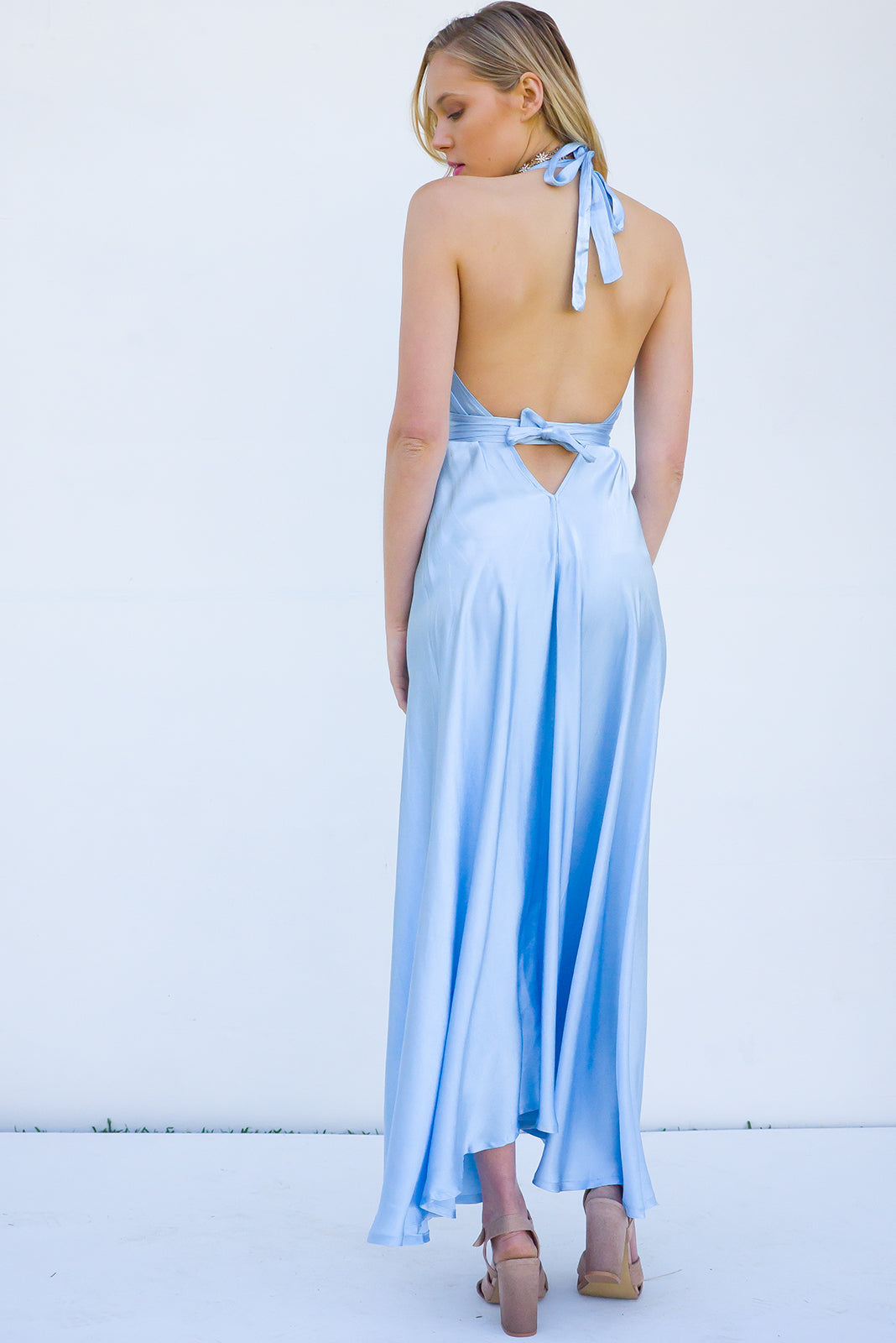 Belle Starr Maxi Dress Backless Halter formal dress in soft ice blue Satin feel fabric