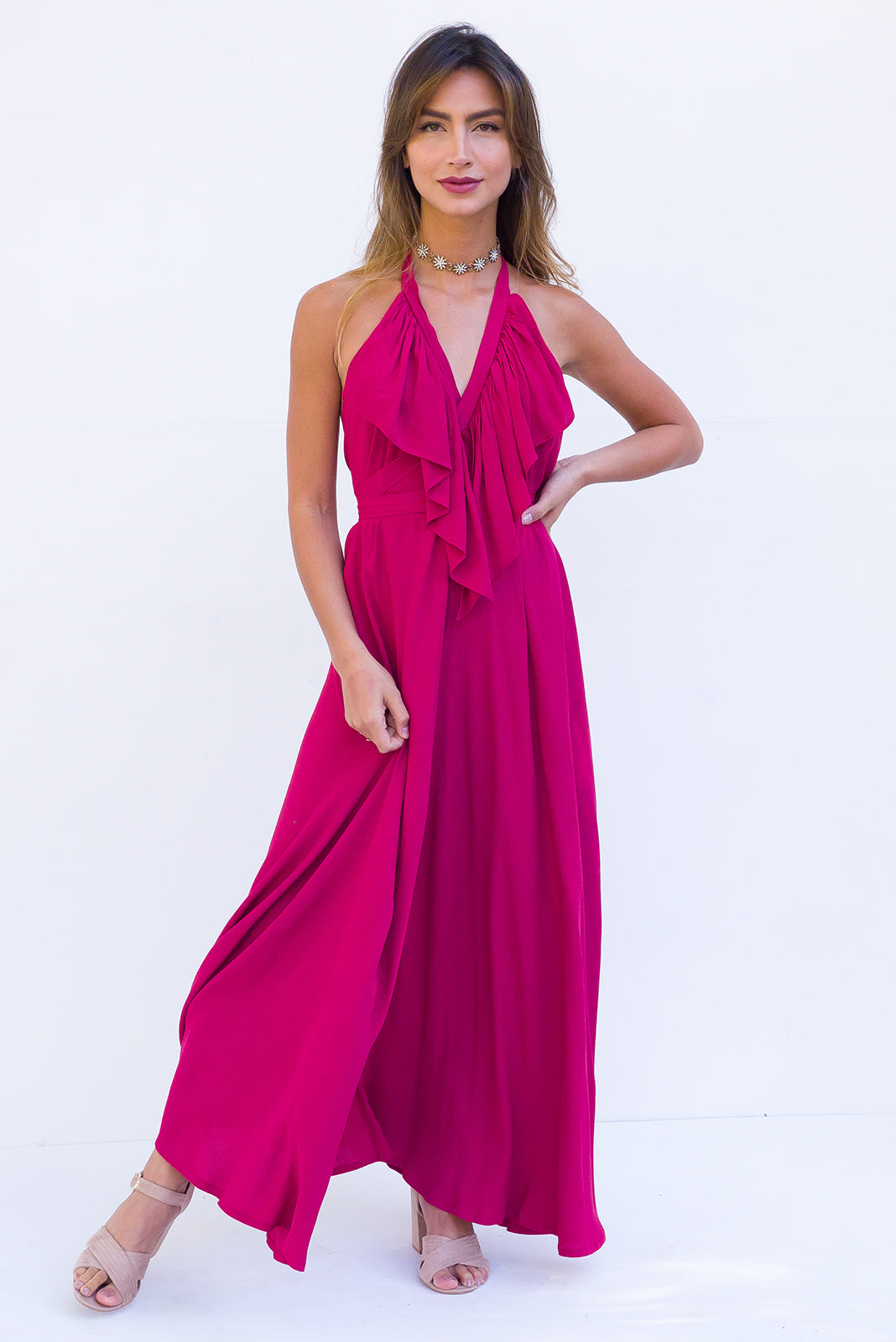 Belle Starr Maxi Dress Backless Halter formal dress in rich Garnet Red