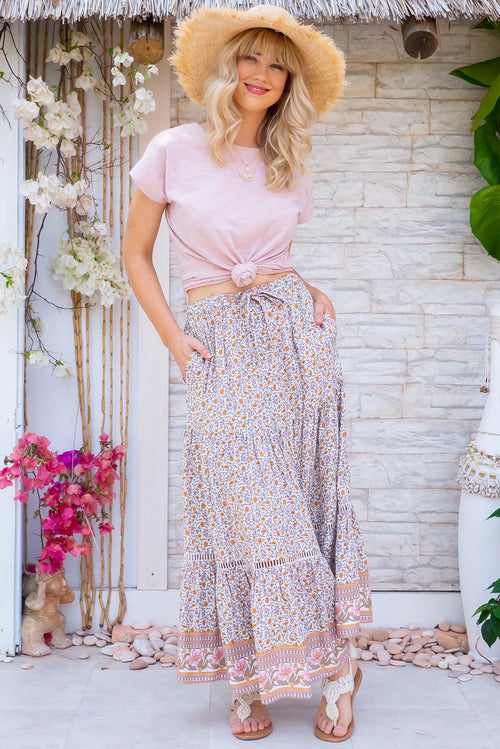 Bonnie Blush Roses Maxi Skirt