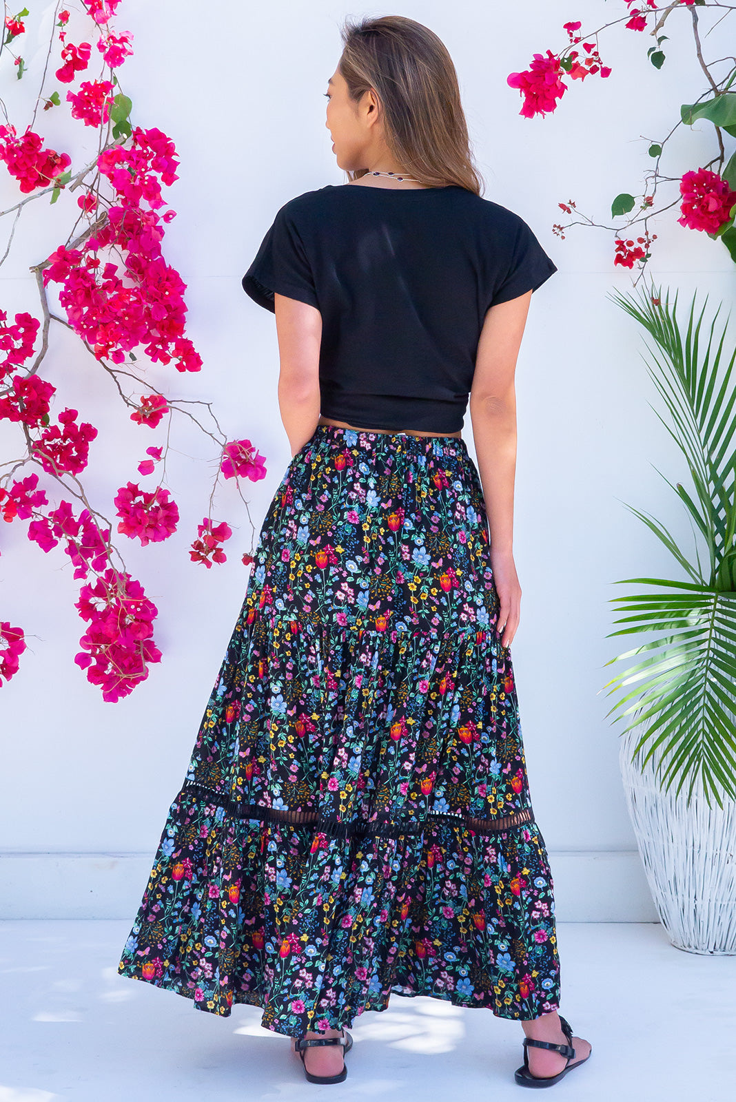 Black Bonnie Field Flowers Maxi Skirt! An enchanting bohemian style black maxi skirt with a vibrant rainbow of wild Spring flowers, comfortable drawstring waist, perfect for plus sized, curvy, tall, petite women. Great for street style, festival, holidays, night out. Pair with a Tee. Designed in Brisbane, Australia