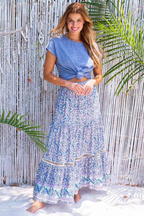 Bonnie River Blue Maxi Skirt