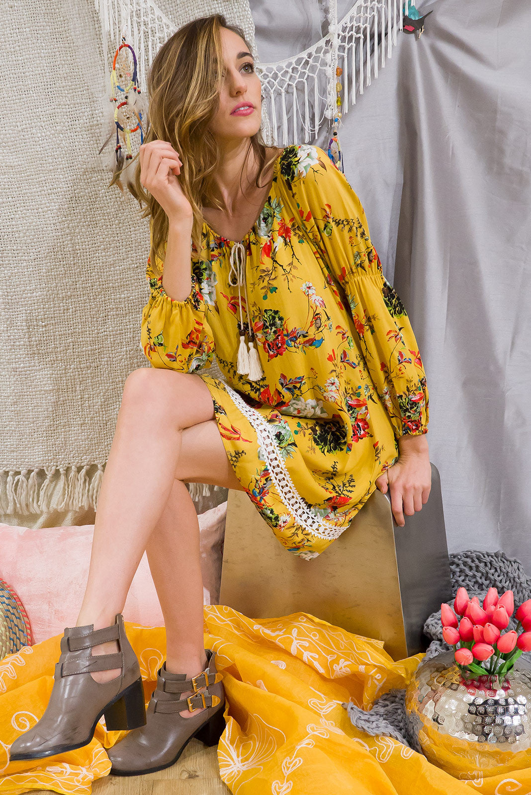 Butterscotch Gold Dress, Yellow floral print tunic dress, Angie dress, boho style dress