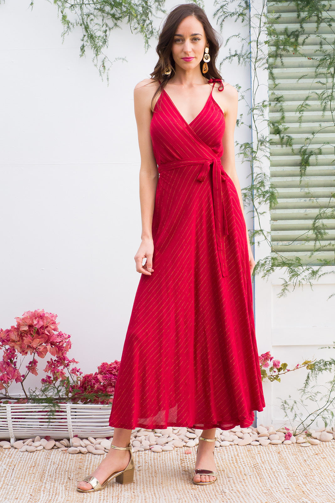 Byron Berry Red and Golden Threads Maxi Wrap Dress with adjustable straps in a bright red crinkle texture woven rayon with a golden lurex thread