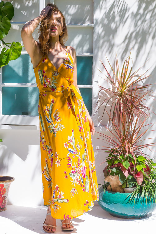 Byron Sunset Gold Maxi Wrap Dress ~ Restocked