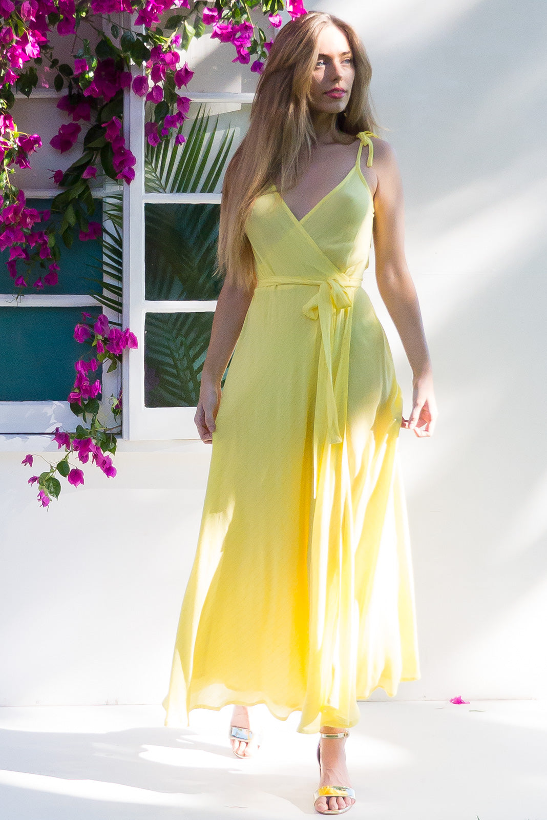 Byron Golden Thread Daisy Yellow Maxi with adjustable straps in bright yellow with a gold lurex thread