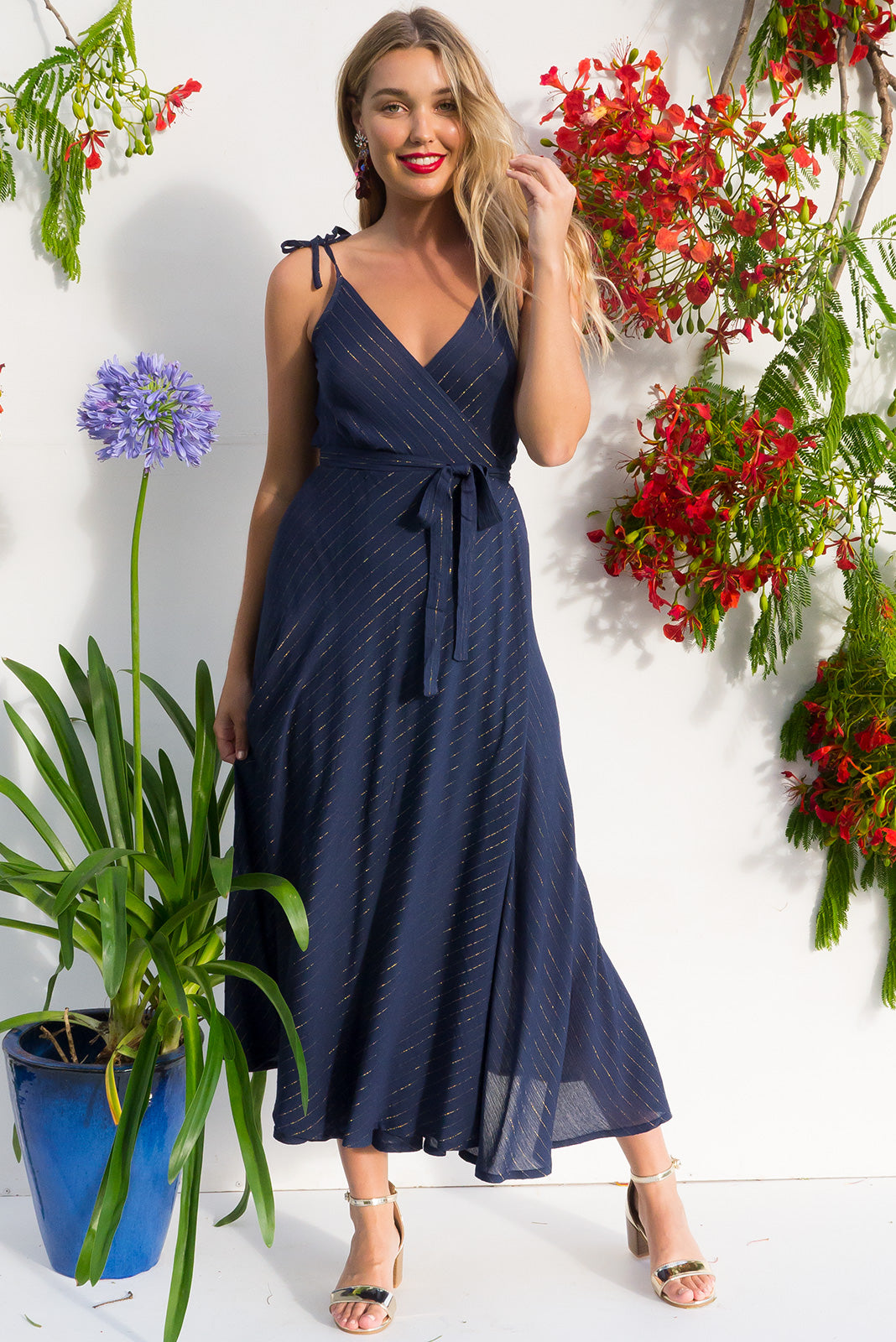 Byron Golden Thread Ink Maxi with adjustable straps in dark navy with a gold lurex thread