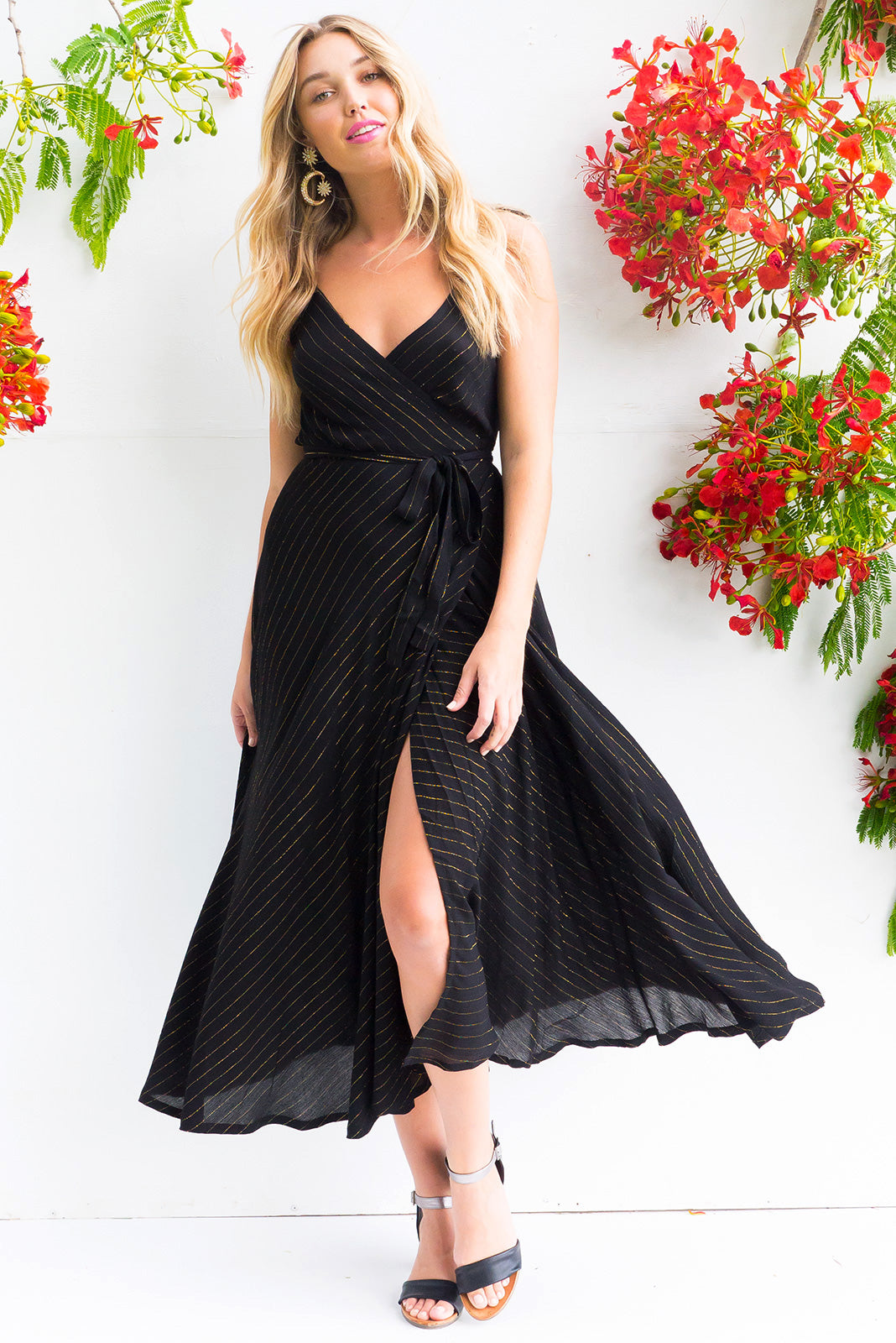 fc1f866b429 Byron Golden Thread Noir Maxi with adjustable straps in true black with a  gold lurex thread
