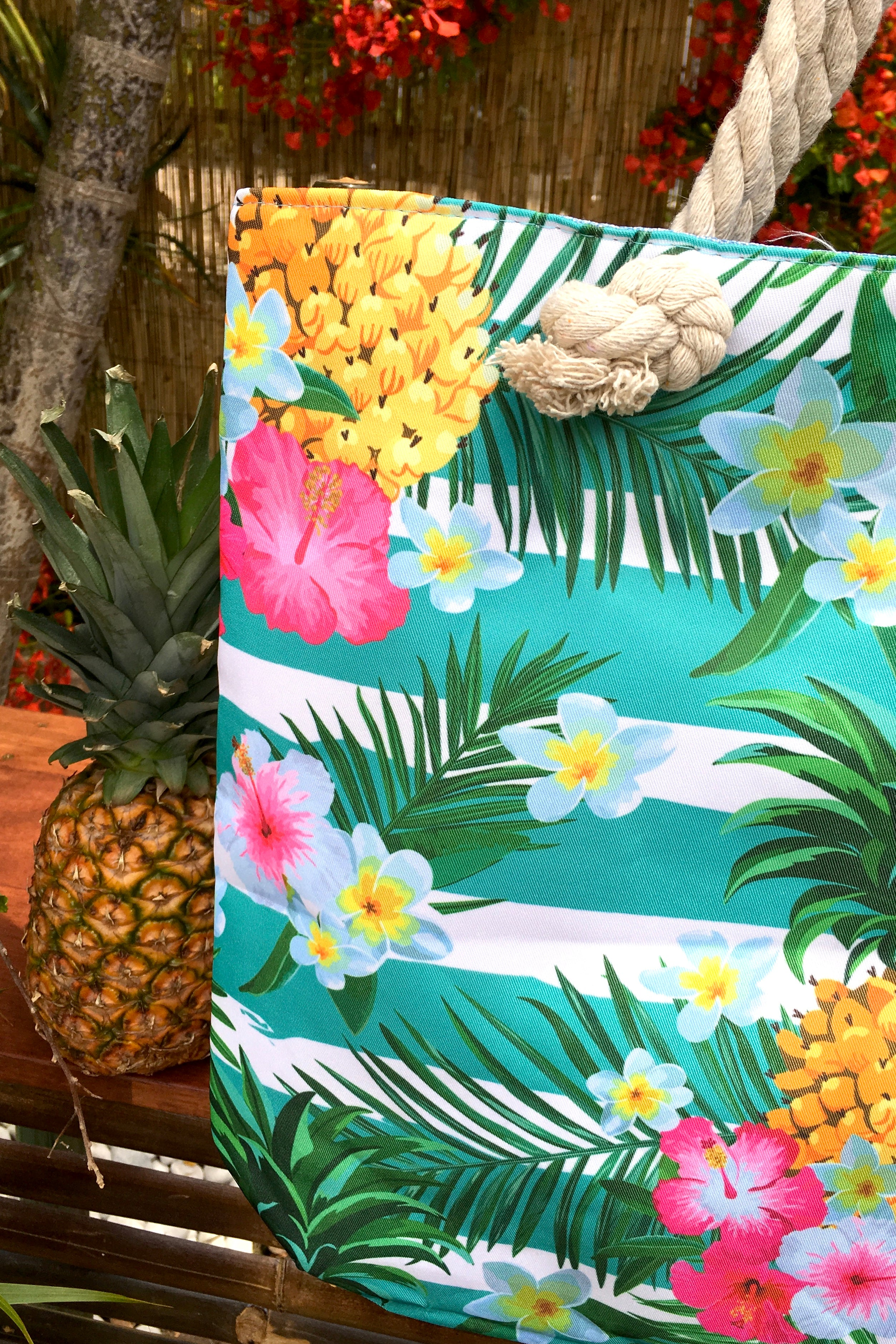 Yeah Canvas Beach Bag Fruit and Flowers