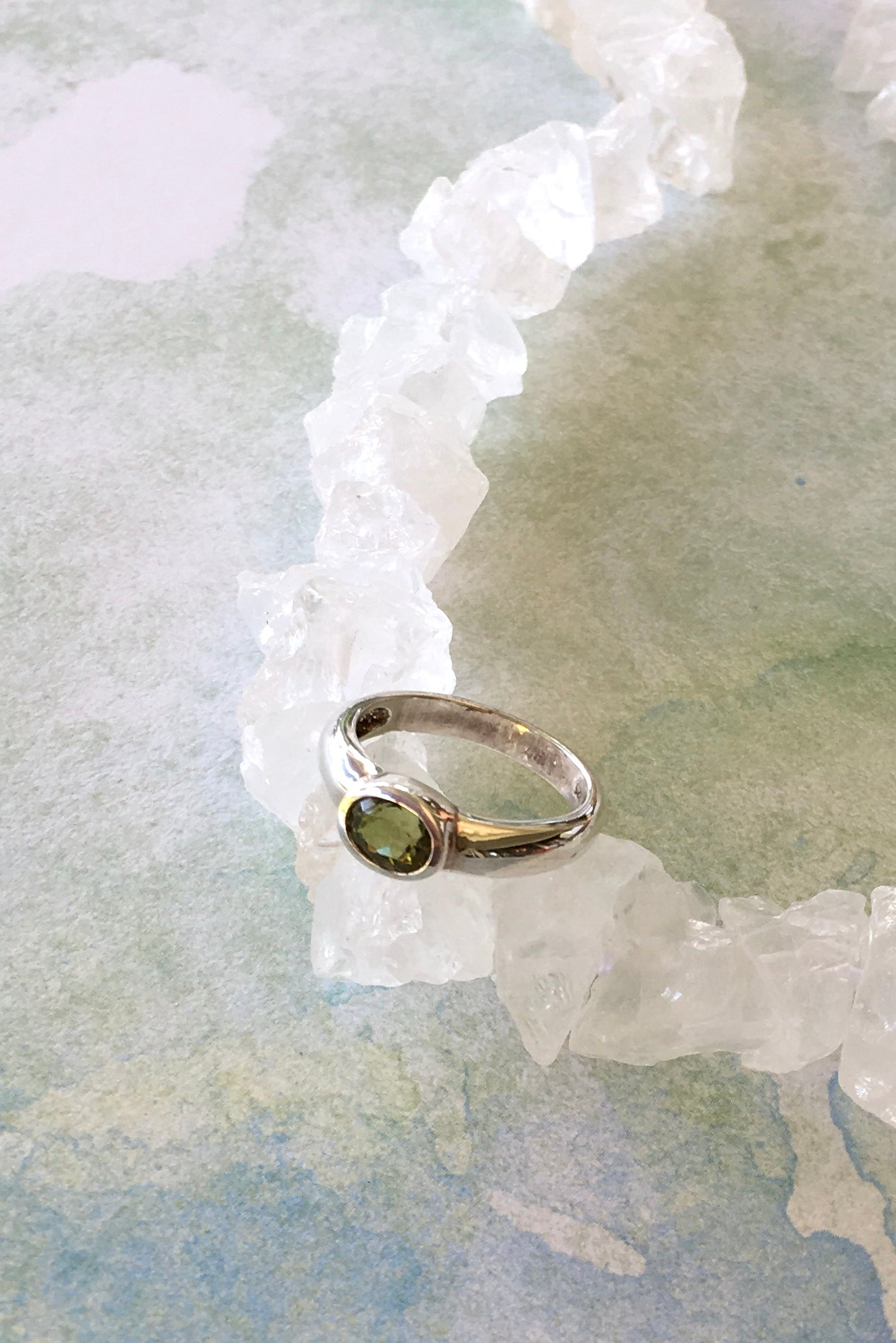 Ring with Green Tourmaline Stone in a Modern Silver Setting 5