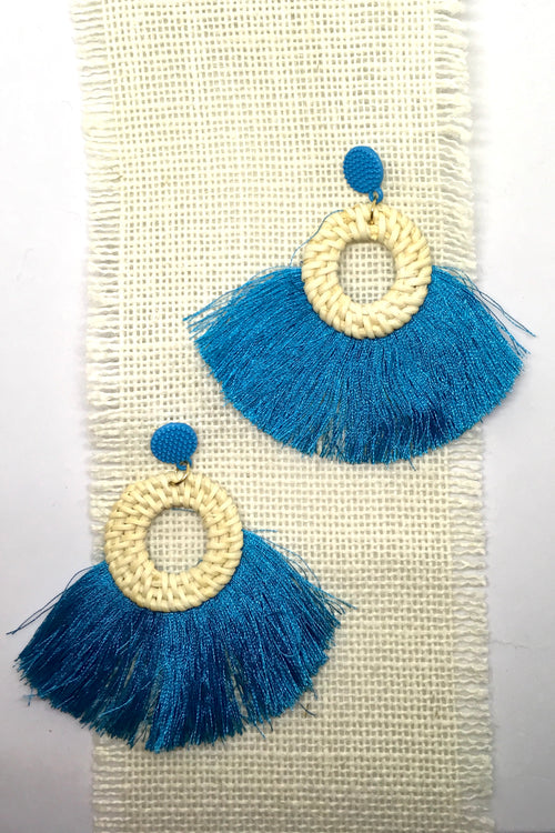 Earrings Rattan Circle with Turquoise Tassels