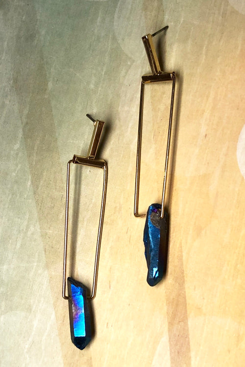 Earrings Meta Crystal Blue