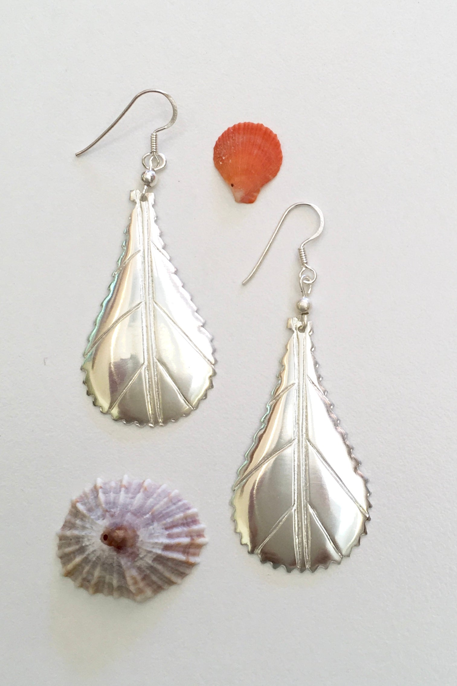 Silver Leaf Earrings, 952 Silver Earrings in a leaf shape
