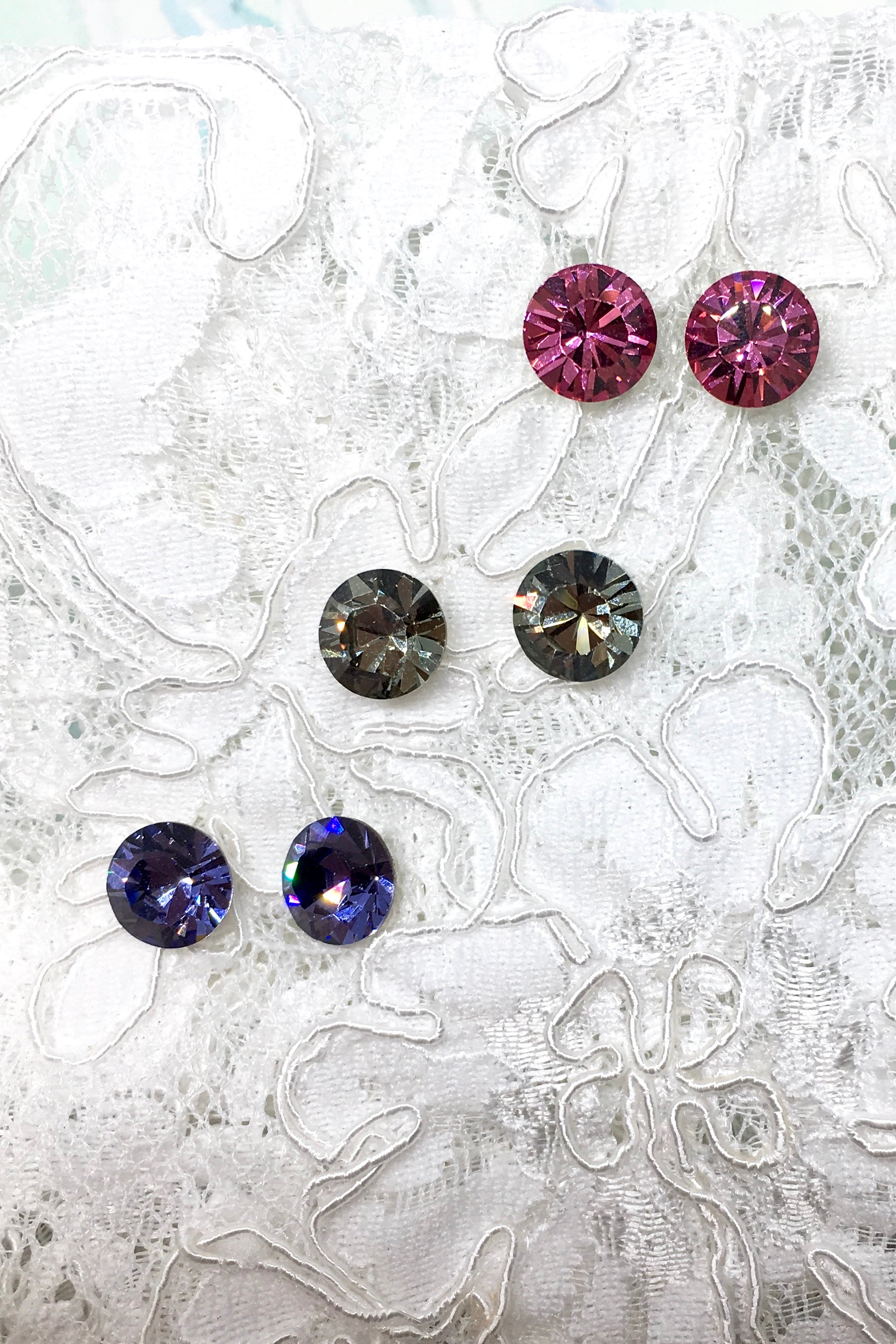 Earrings Crystal Stud in Pink, Smoky grey or Tanzanite Mauve
