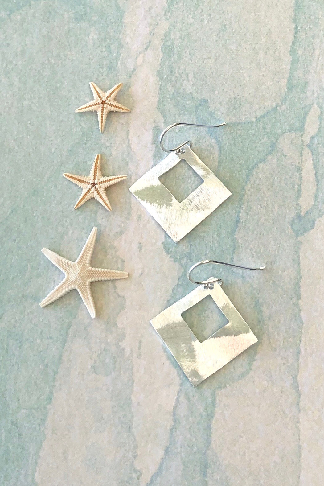 Squared solid silver earrings,