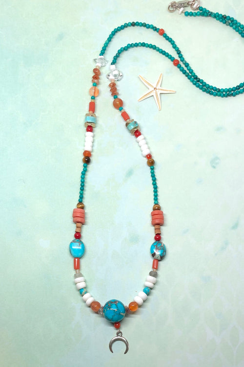 Necklace Cay Moon Sea with Natural Gemstones
