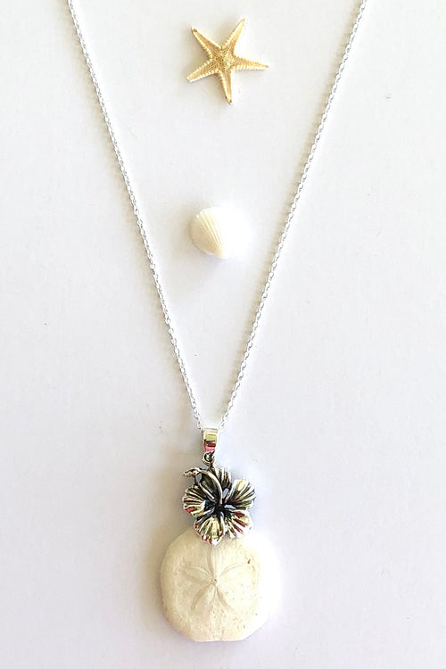 Pendant Cay Silver Hibiscus on Silver Chain