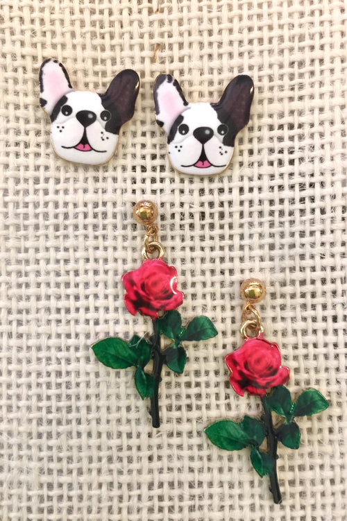Earrings Petals and Pup Enamel