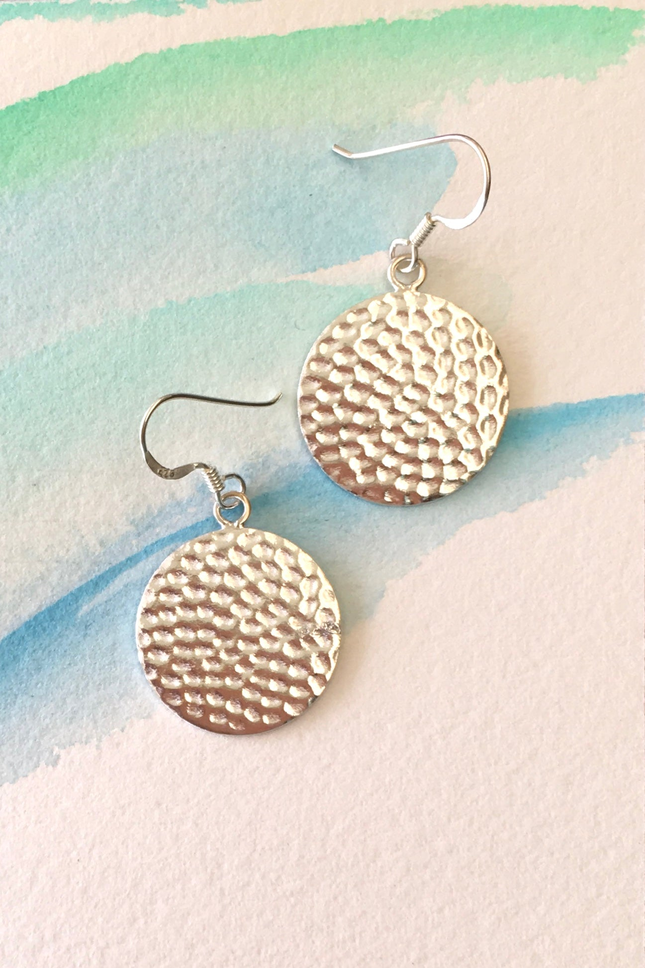 Silver Disc earrings with stipple effect