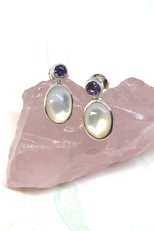 Echo Earrings Mother of Pearl and Gemstone