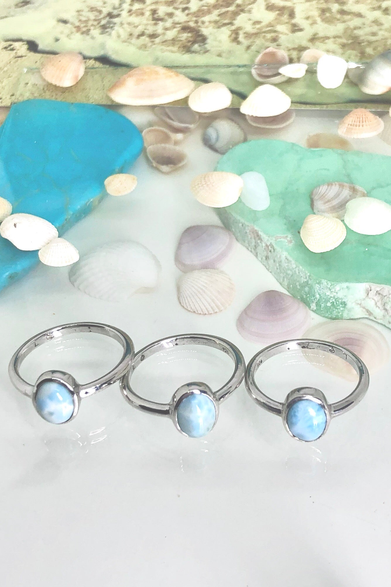 Larimar stone ring in 925 silver, a pretty and dainty Larimar ring.