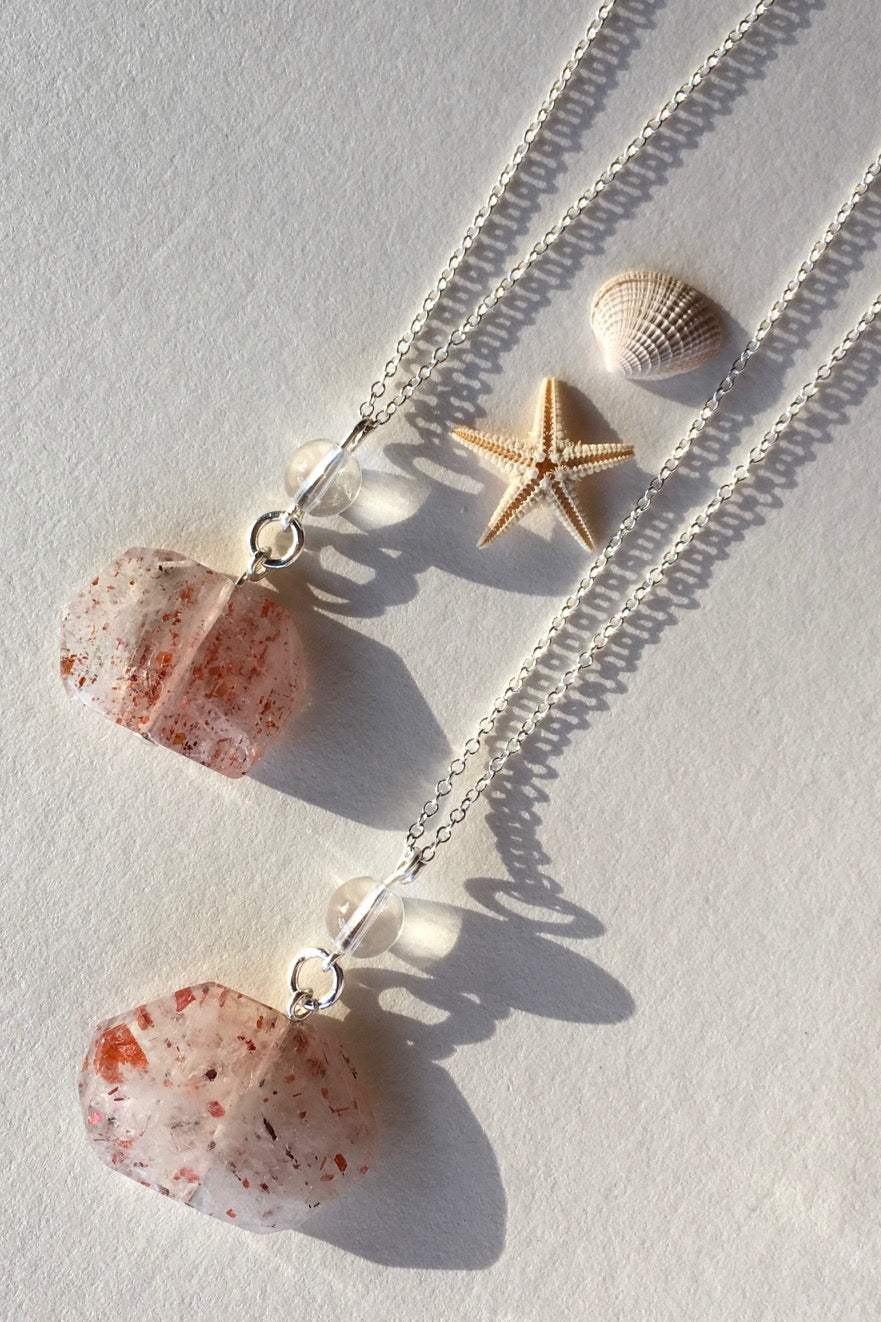 Pendant of Strawberry Quartz with Rock Crystal