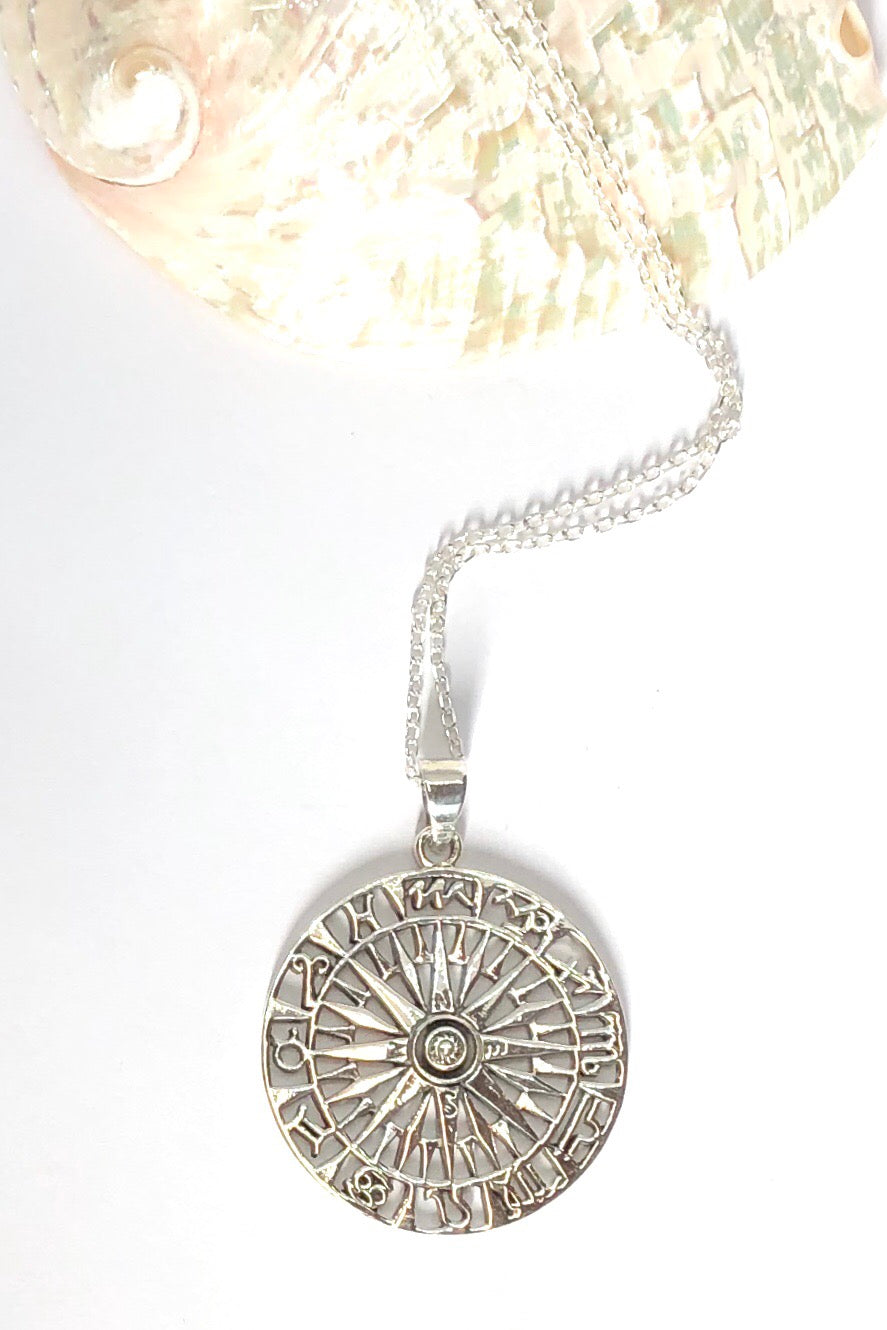 Oracle Pendant Compass is a solid 925 silver mystical Moon design featuring  4cm long,  coming on a fine silver chain.