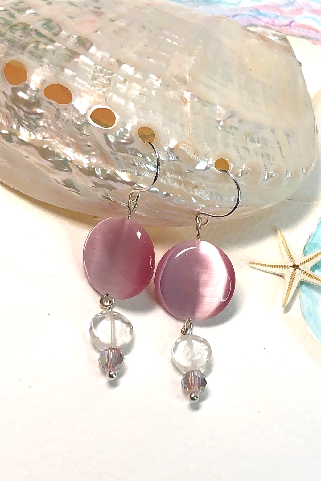 Earrings Serendipity Pink Moon are Handmade in Noosa, Australia, featuring pink rock Crystal, and 925 Silver hook.
