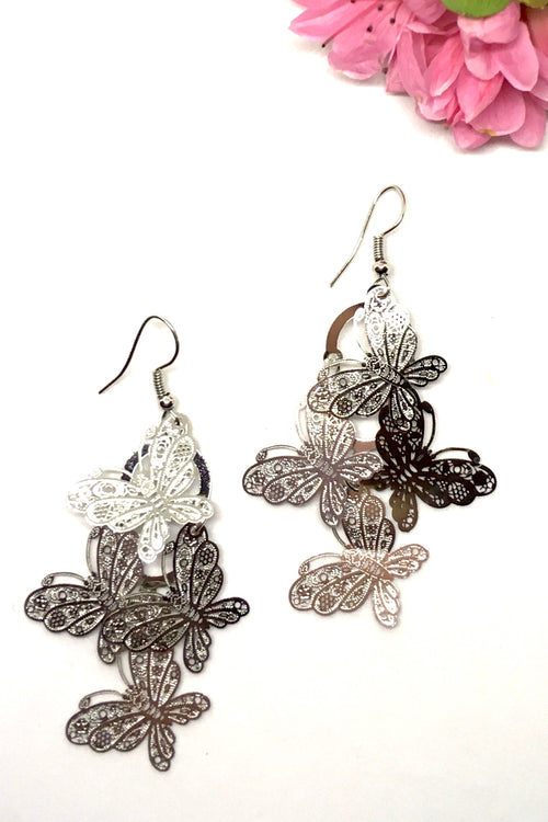 Earrings Fluttery Butterfly Drop Silvery