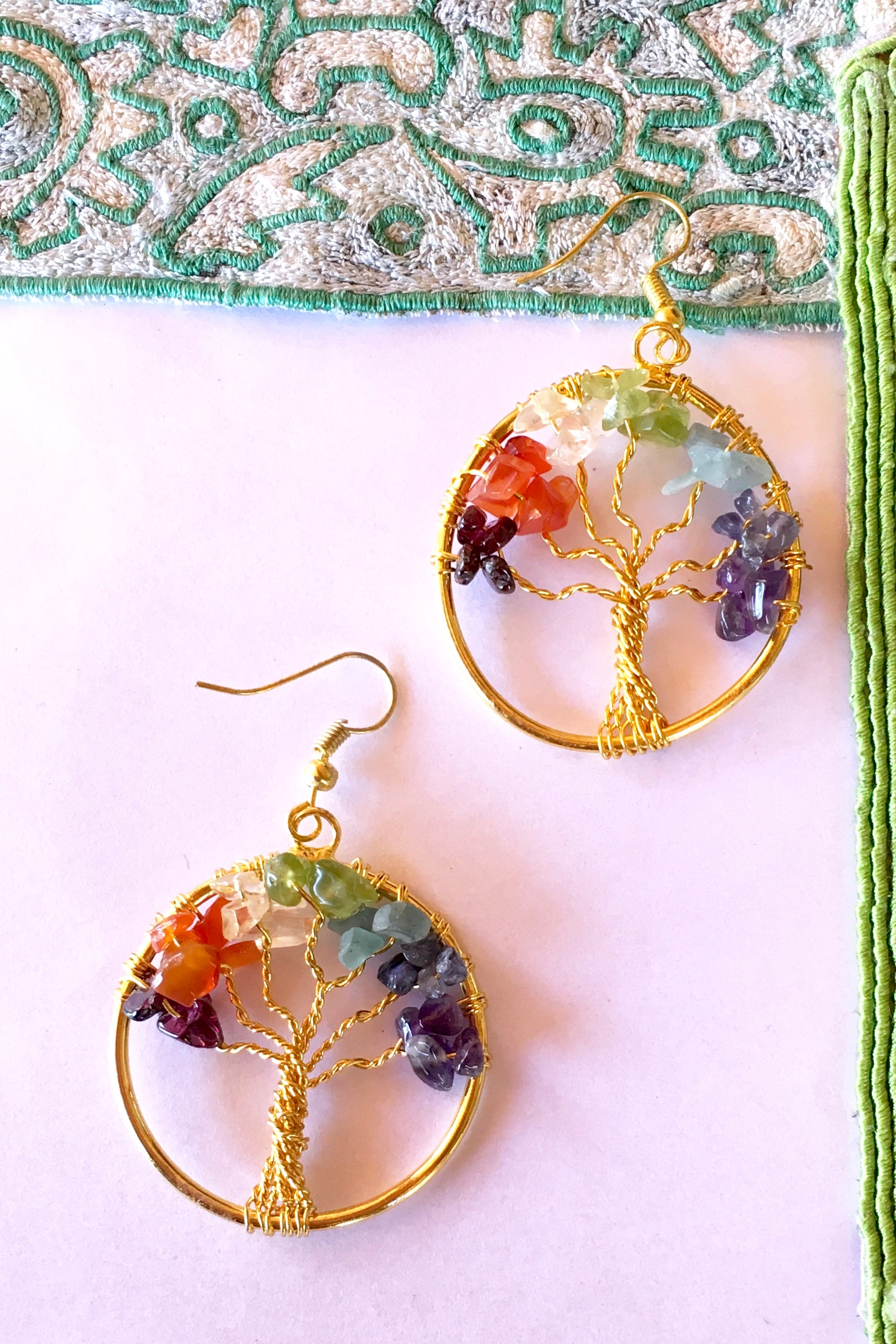 Earrings Tree of Life with gemstone detail, hippie style earrings.