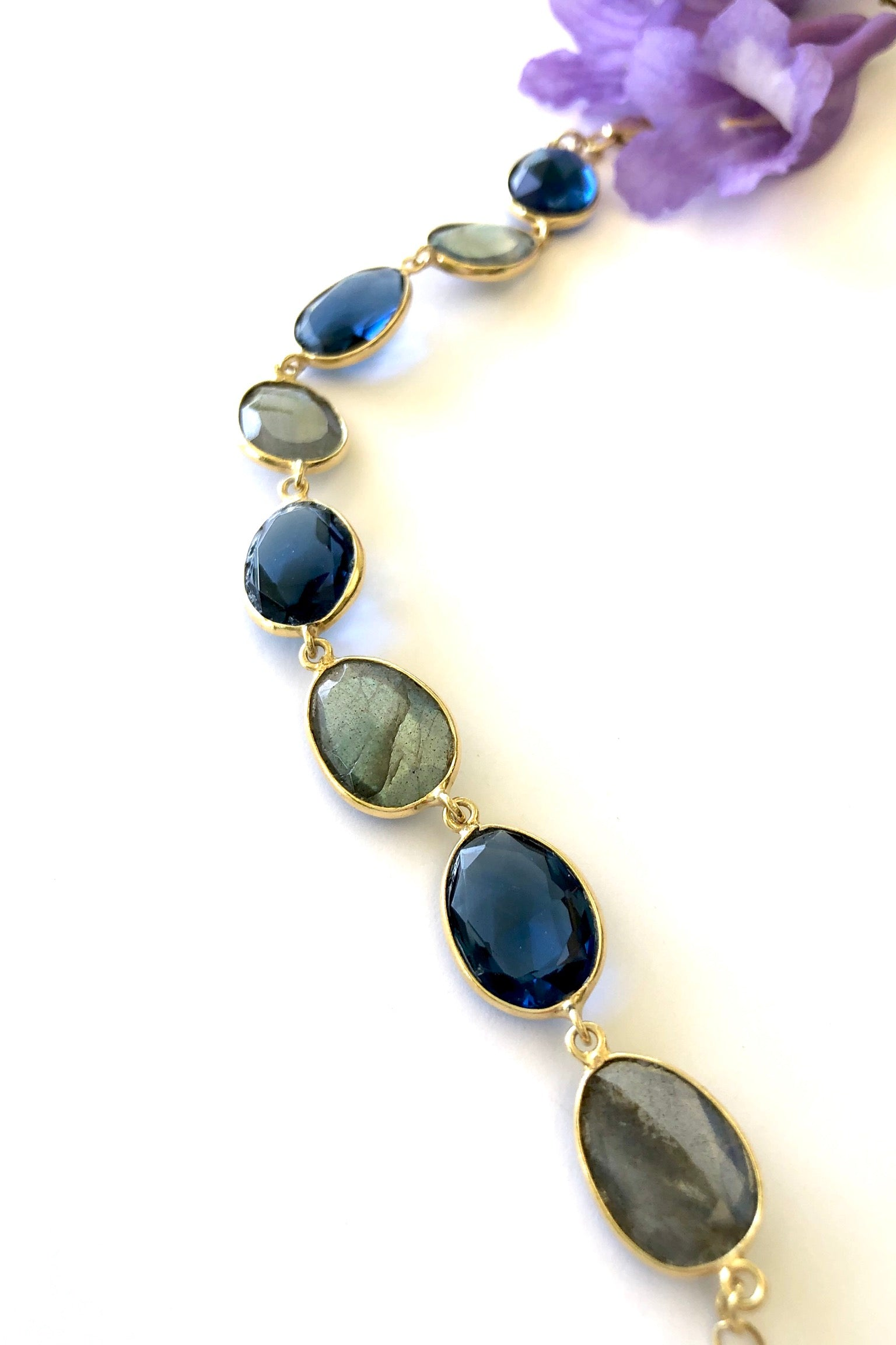 gemstone Labradorite bracelet set in gold