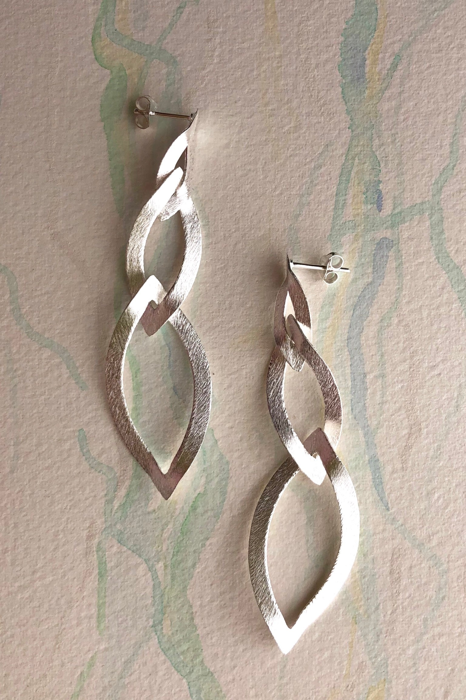 Earrings Sala Triplet in Laser Finish 925 Silver Silver drop earrings, simple delicate and dainty.