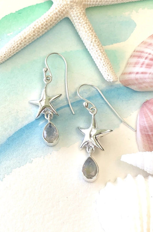 Oracle Silver Seas Earrings Starfish Gemdrop Two Colours