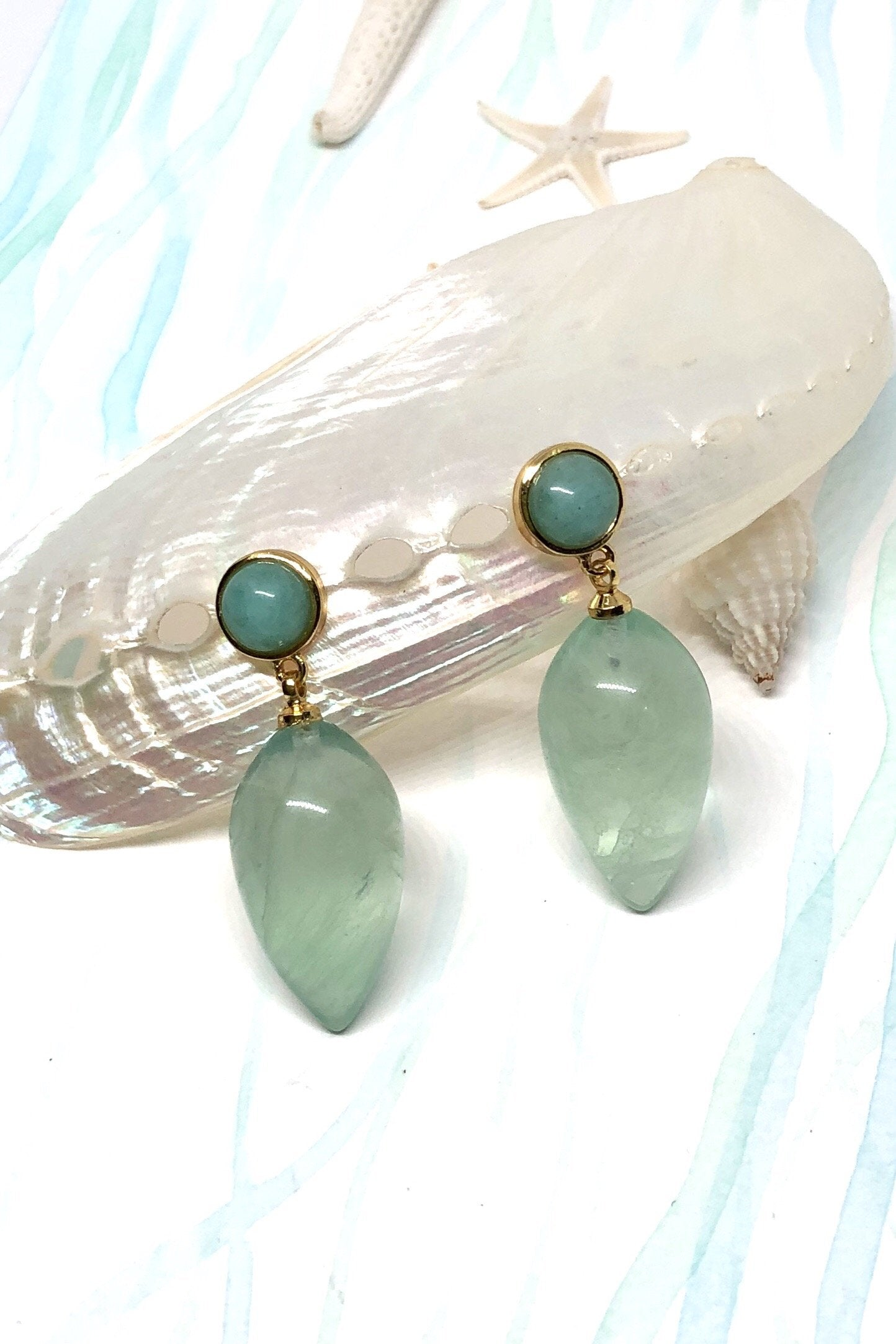 Green mint quartz drop style earrings