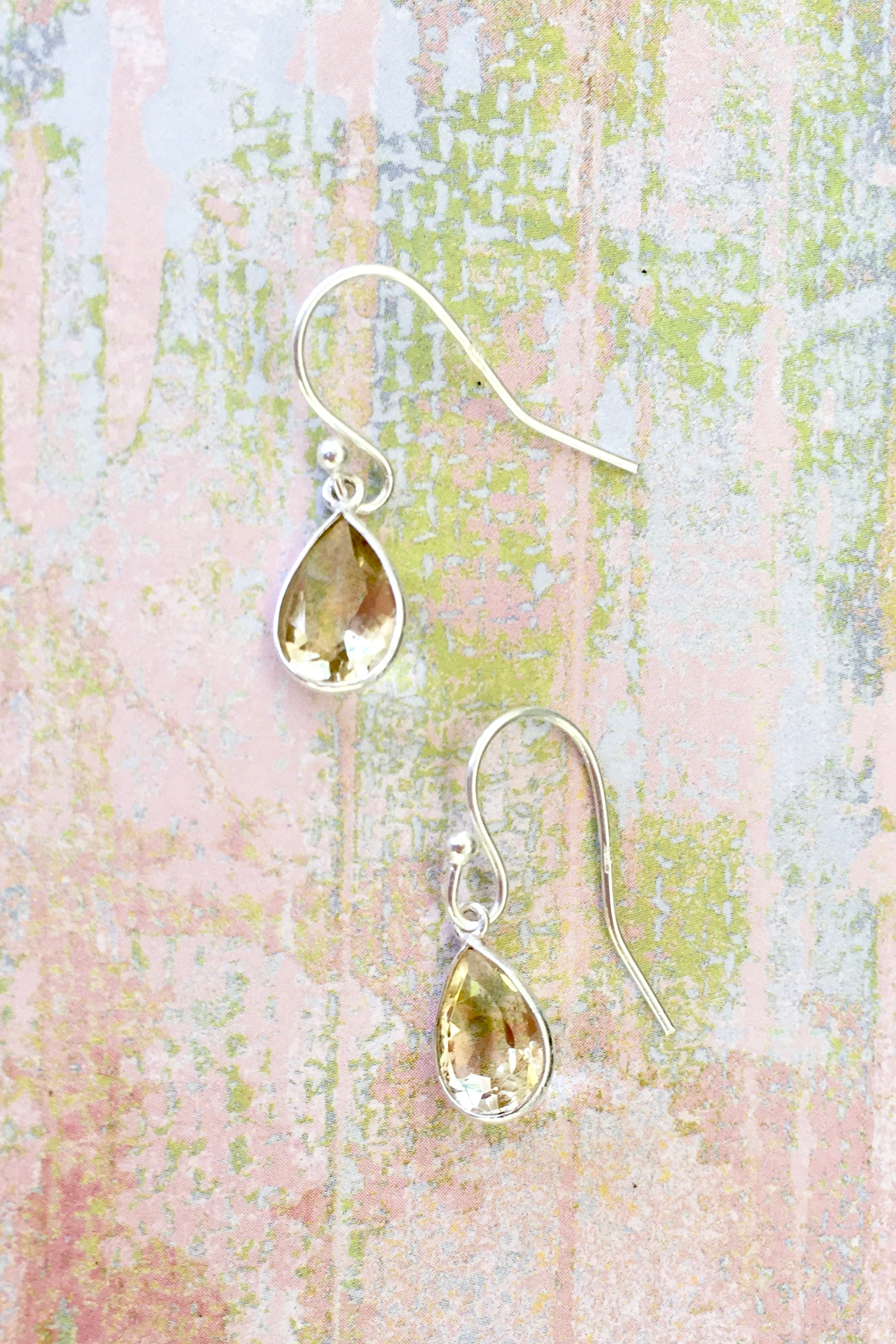 Oracle Citrine and Silver  Mini Drop Earrings