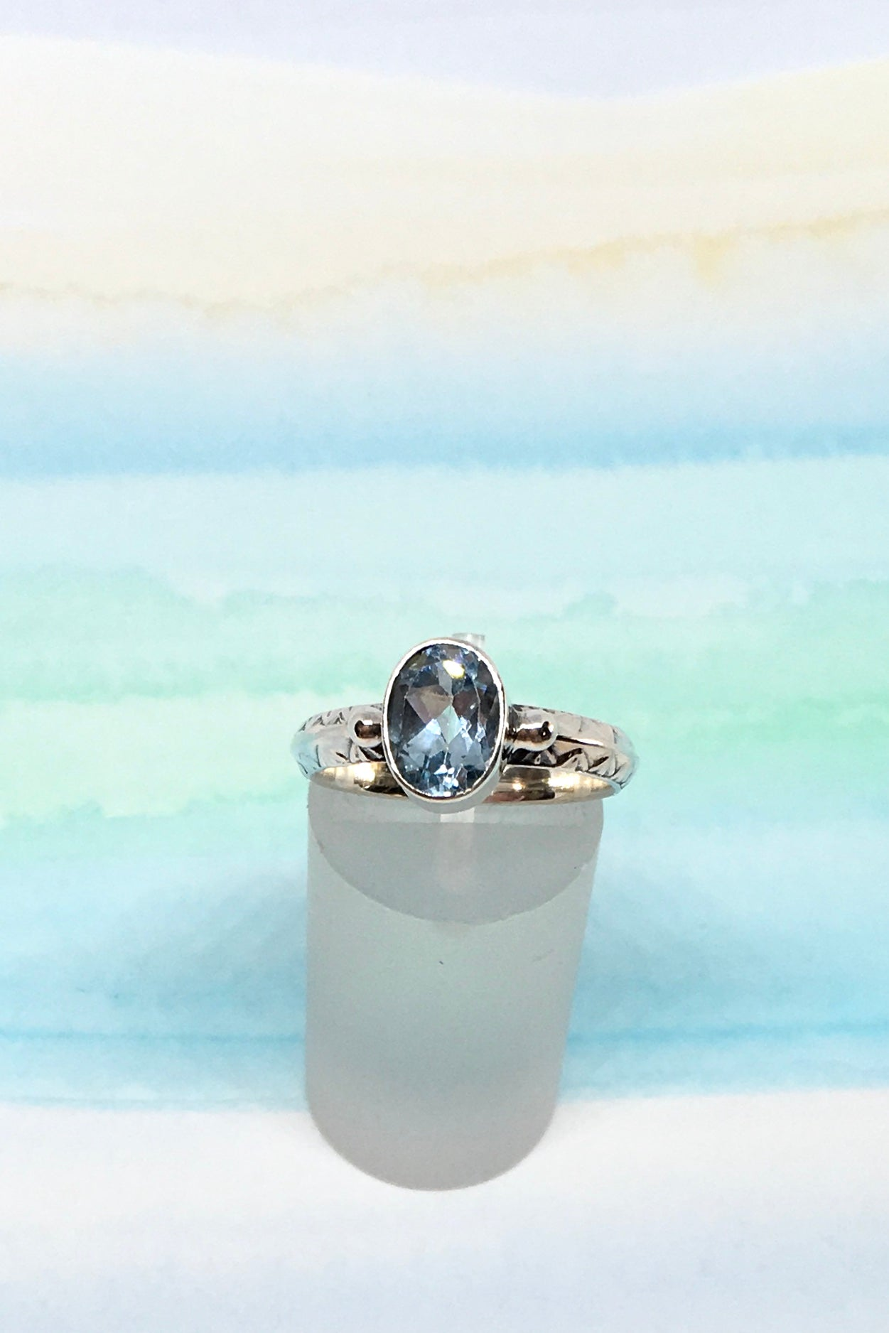 Oracle Ring Roman in 925 Silver with Blue Topaz Gemstone