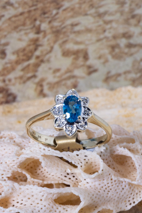 Vintage Ring With Blue Topaz and Rose Cut Diamonds in 9ct Gold