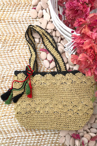 Bag Lillie Chic with Black Trim, grass woven bag for summer
